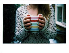 Keep Warm And Carry On (SnapHappyRaa) Tags: winter white snow colour stripes biting polkadots spots nails stop mug cathkidston instax210