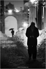 dark presence (Olivier Jules) Tags: street white snow man black men umbrella noiretblanc explore killer neve porta ombrello uomini guardiagrele explored