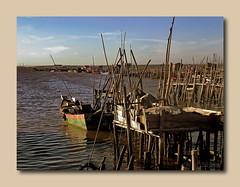 Cais Palafitico da Carrasqueira- Alccer do Sal-Portugal (Cida Garcia) Tags: gua river cais portuga caispalaffiticodacarrasqueiraalccerdosalarquitecturapopulareuropaestacasmadeirasembarcadouroresrvanaturaldoriosadoribeirinhaestacarialamaalriosadopescadoresbarcosbaixamae
