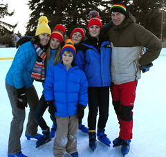 family ice skating picture