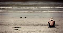 Sitting by the Sea (cisco image ) Tags: ocean sea portrait hat portraits canon square words sand wide australia soul ritratti ritratto vita onde parole backshot spalle presenze capebridgewater sedersi spiragli serenità eos5dmarkii
