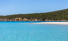 Tuerredda Beach (MaxSkyMax) Tags: sardegna blue trees italy woman green water canon boat sand rocks mediterranean italia day sardinia sunny clear cristal springtime mediterranea macchia