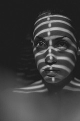 Morning Warrior (Avant Vedge) Tags: portrait white black face self shadows mask stripes blinds curtains portrature