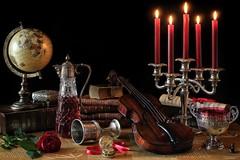 Opulent Still Life (memoryweaver) Tags: flower rose globe candles violin candlelight antiques candelabra pocketwatch oldbooks candelabrum warmtones leatherbound memoryweaver vergefusee