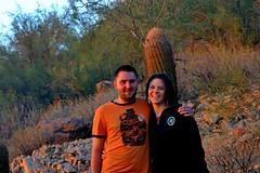 Greg and Kim VIII (biosynthesis24) Tags: november sunset arizona usa mountains southwest silhouette twilight desert dusk hiking walk vivid hike fisheye adventure saguaro sonoran brilliant hdr mesa cholla apachejunction ldr 2011 usery useryregionalpark