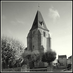All is Revealed! (mikeinlagardette) Tags: trees 120 mamiya tlr monochrome blackwhite towers churches thorntons homemade 400 jpg c2 creuse foma 65mm bluedot centralfrance twobath sekors legrandbourg gupr