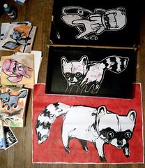 raccoons in boxes (starheadboy) Tags: squirrel canvas boxes raccoon starheadboy