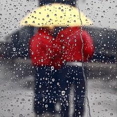 Valet Parking (StephenReed) Tags: window rain weather droplets valetparking yellowumbrella stephenreed