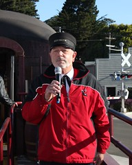 Conductor Narration (Prayitno) Tags: california county ca train fort mendocino bragg skunk conductor skunktrain narrator narration narrate konomark