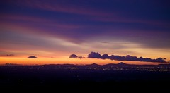 dawn over dublin (thatgirlwiththekicks) Tags: city morning pink blue ireland sky dublin orange clouds sunrise dawn lights purple magenta
