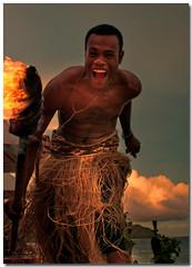 Lamp Lighter (PhotoshopScaresMe.com) Tags: sunset fiji dusk torches lamps beacons firestarter matamanoa