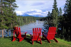 00107158 (wolfgangkaehler) Tags: park red mountain canada mountains tourism water chair jasper chairs parks tourist tourists unescoworldheritagesite unesco worldheritagesite northamerica albertacanada athabascariver jaspernationalpark mountainrange canadianrockies unescosite jaspernatlpark
