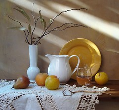 Hem of the Sun. (Esther Spektor - Thanks for 6 millions views..) Tags: autumn light stilllife brown sun sunlight white reflection green art glass leaves yellow fruit table ceramics ray branch shadows natural wine artistic linen lace deco