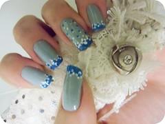 Azul Floral (x_Jess) Tags: flores art floral azul nail unha esmalte delicado francesinha