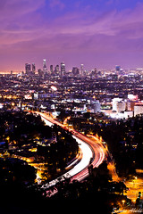 As the night falls, the city comes alive... [Explored] (Edwin_Abedi) Tags: california longexposure losangeles socal hollywood freeway lighttrails