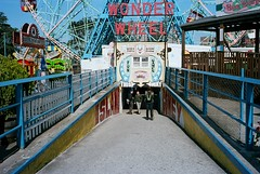 Into Coney Island / Minolta Hi-Matic E (ho_hokus) Tags: newyork brooklyn 35mm coneyisland minolta kodakportra400vc 35mmfilm amusementpark americana funfair wonderwheel 2011 himatice minoltahimatice 35mmfilmcamera