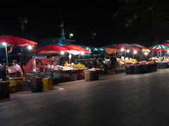 Night Boat Pier at the Fruit Market (Toey Osit) Tags: night river thailand lumix market thani surat tapi suratthani gf3     tapee