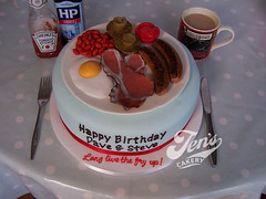 Fried breakfast...cake. (Jen's Cakery) Tags: cake breakfast tomato mushrooms bacon beans egg plate sausages fried fryup fullenglish jenscakery jennycoopercakes