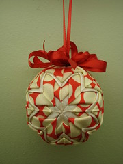 Quilted Christmas Ornament (MoonlitStitches) Tags: christmas lotus handmade ornament fabric quilted amybutler