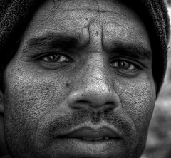 don't look into my eyes (swarat_ghosh) Tags: portrait blackandwhite india male face asian eyes nikon asia indian streetphotography human 1855mm hyderabad d3000 shamirpet swaratghoshphotography