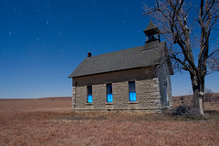 District 34 (Nocturnal Kansas) Tags: longexposure nightphotography school lightpainting night fullmoon kansas schoolhouse startrails paintwithlight nocturnes 1896