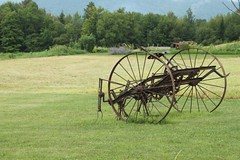 The Past (Vespatime) Tags: green field wheel metal rust iron vermont steel farming spokes rake pasture hay stowe morrisville