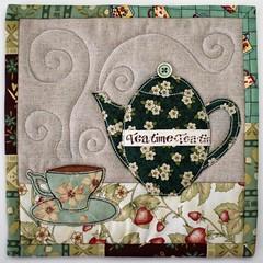 TeaTime Trivets (PatchworkPottery) Tags: quilt tea handmade linen crafts teapot patchwork teacup applique trivet potholder freemotion mugrug