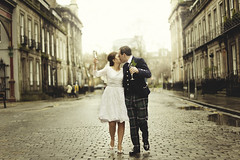 New Year's Eve wedding (joannablu kitchener) Tags: street wedding love groom bride scotland nikon kiss couple edinburgh emotion champagne newyearseve d700 kitchenerphotography