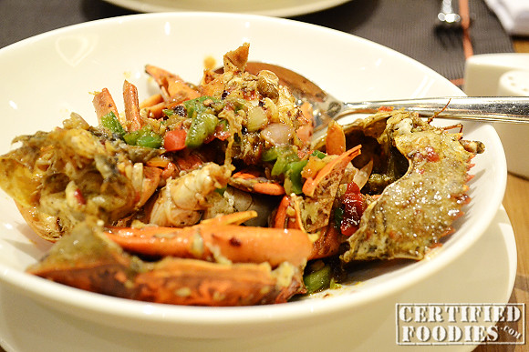 Cold crabs were cooked to a hot dish per customer request