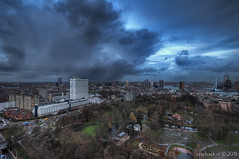 Another shower over Rotterdam / Euromast (zzapback) Tags: city bridge urban cloud storm holland robert netherlands dutch rain river de shower rotterdam europa europe fotografie nederland center maas hdr regen stad euromast erasmusbrug wolk rivier voogd rotjeknor vormgeving photomatix grafische bergselaan liskwartier zzapback zzapbacknl robdevoogd stayawakeenjoyyourday