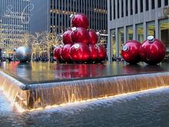 Rockefeller Center - Exxon Building (3) (Sue L C) Tags: newyorkcity fountain manhattan rockefellercenter ornament picnik exxonbuilding 1251avenueoftheamericas giantredornaments