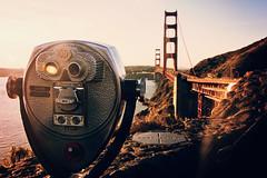 Tower Optical Binoculars (Leighton Wallis) Tags: sanfrancisco california birthday ca usa sunrise unitedstatesofamerica marinheadlands vistapoint 75thanniversary toweroptical goldenfatebridge ggnpc11