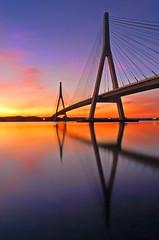 Guadiana Bridge sunset (Juampiter) Tags: reflexions