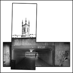 St. Mary's Gate underpass (pho-Tony) Tags: blackandwhite bw panorama white black film monochrome collage analog trash 35mm toy iso800 fuji mask widescreen wide pic panoramic ishootfilm iso plastic thrift strip multiple analogue 135 cheap 800 narrow hockney multiframe charityshop fujicolor c41 widepic hockneyesque filmisnotdead tetenal fuji800pro 800pro widepicpanorama