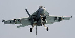A jet commences its approach toward the flight deck. (Official U.S. Navy Imagery) Tags: iran pirate piracy iranian skiff arabiansea usskidd vbss ddg100 searchandseizure