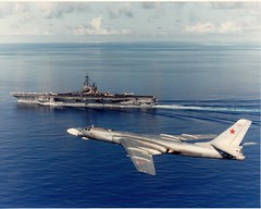 CV-61, USS Ranger, with Tupolev Tu-16 Badger (San Diego Air & Space Museum Archives) Tags: usnavy sandiegoairandspacemuseum tupolevtu16badger cv61ussranger tu16badger badgerbomber tupolevtu16 tu16 tupolev ship warship unitedstatesnavy usn aviation navalaviation ussrangercv61 ussrangercva61 ussranger cv61 cva61 forrestalclass aircraftcarrier