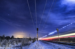 Midnight train (Antti-Jussi Liikala) Tags: winter light sky moon train star trails midnight trainspotting vr seinjoki juna pendolino myhss