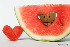 Love isn't something you find. Love is something that finds you. (italyraaz) Tags: canon toy photography robot watermelon danbo raaz 600d