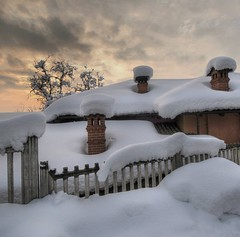 three chimneys (rinogas) Tags: winter sunset italy snow clouds hdr roero sommarivadelbosco rinogas
