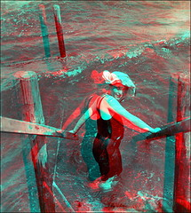 At the Sea (anaglyph) (ookami_dou) Tags: sea summer woman vintage waves anaglyph stereoview npg bather bathinghat