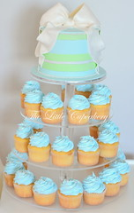 Andre's Christening (TheLittleCupcakery) Tags: birthday blue white green tower cupcakes little bow ribbon tlc fondant cupcakery klairescupcakes