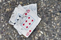 Fifty Cards Short Of A Full Deck (Joseph Austin) Tags: red 6 black game trash diamonds cards lost 7 seven lucky receipt clubs discarded six playingcards redblack