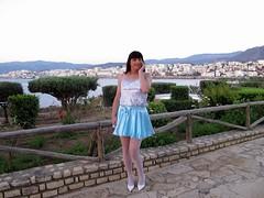 Agios Nikolaos (Paula Satijn) Tags: blue white hot sexy stockings girl smile happy shiny pumps legs outdoor silk skirt tgirl crete transvestite satin miniskirt gurl