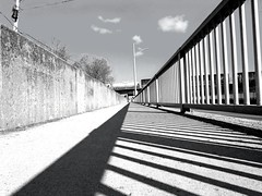 Lines (Explored) (rephoto14) Tags: blackandwhite lines railway walkway