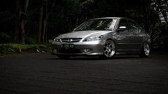 Honda Civic ES (TrixSigio) Tags: trees white black color car honda silver indonesia civic enthusiast es simply rs lowered slammed stance enkei fitment