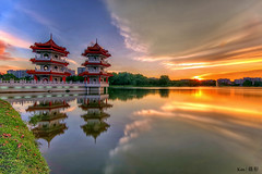 Twin Pagoda Sunset (Ken Goh thanks for 2 Million views) Tags: sunset reflection composition pagoda scenery pentax twin chinesegarden k1 sigma1020
