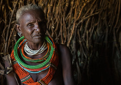 Toposa tribe woman in her hut, Omo valley, Kangate, Ethiopia (Eric Lafforgue) Tags: africa portrait people color horizontal outdoors necklace women day adult african traditional decoration jewelry tribal indoors bead omovalley ethiopia tribe ethnic cultural oneperson jewel developingcountry ethnicity hornofafrica whitehair ethiopian eastafrica thiopien etiopia abyssinia ethiopie traditionalclothing realpeople etiopa beadednecklace bume onewomanonly waistup  etiopija 1people ethiopi  africanculture ethnicgroup etiopien toposa etipia  etiyopya     topossa   kangate    kangatan ngakaaly ethio161657