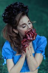 BLOODY ALICE series (DeboraDiDonato) Tags: portrait colors canon dark blood model heart alice gothic creative creepy eat horror concept bloody conceptual concettuale
