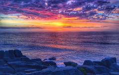 Are you with me? (FlavioSarescia) Tags: ocean travel pink sea newzealand summer orange sun sunlight apple nature water sunshine yellow clouds landscape outside colours nz southisland punakaiki pancakerocks iphone clich hcs