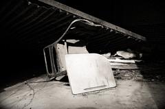 what a beautiful thing you are (fallsroad) Tags: blackandwhite bw abandoned broken nikon industrial desk decay okmulgeeoklahoma kistpeanutplant